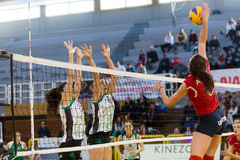 Greek Women Volleyball League game Aias vs Panathinaikos Royalty Free Stock Images