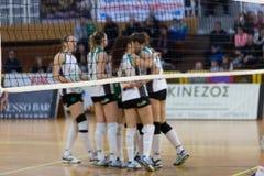 Greek Women Volleyball League game Aias vs Panathinaikos Royalty Free Stock Photos
