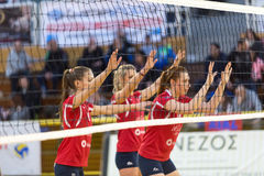 Greek Women Volleyball League game Aias vs Panathinaikos Stock Images