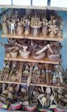 Greek wooden souvenirs in the form of kitchen utensils of products of national masters. royalty free stock photo