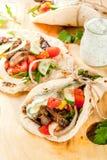 Greek wrapped sandwich gyros stock image