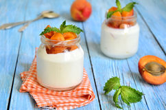Greek yogurt with apricots in the jar. Royalty Free Stock Photos