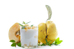Greek yogurt with baked quince Royalty Free Stock Images