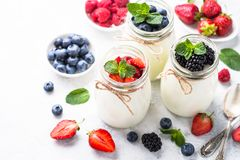 Greek yogurt with berries. Yogurt. Fresh homemade yogurt with berries in glass jars. Healthy food nutrition, snack or breakfast. Close up Royalty Free Stock Images
