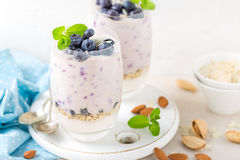 Greek yogurt or blueberry parfait with fresh berries and almond nuts on white background Royalty Free Stock Photos