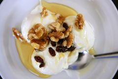 Greek yogurt dessert with honey and walnuts. Nuts over white plate Royalty Free Stock Images