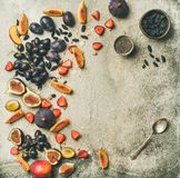 Fresh fruit and chia seeds bowl, copy space royalty free stock photos