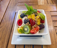 Greek Yogurt and fruit stock images