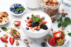 Greek yogurt granola and berry mix. stock photo
