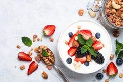 Greek yogurt granola and berry mix. Top view. royalty free stock photography