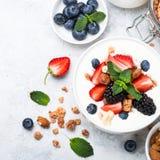Greek yogurt granola and berry mix. Top view. stock photo