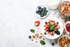 Greek yogurt granola and berry mix. Top view. royalty free stock photos