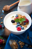 Greek yogurt with granola and fresh berries. Healthy breakfast. Greek yogurt with granola and fresh berries Stock Image