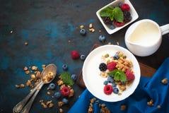 Greek yogurt with granola and fresh berries. Royalty Free Stock Image