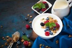 Greek yogurt with granola and fresh berries. Stock Photography