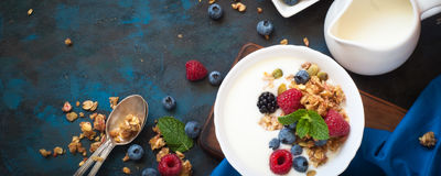 Greek yogurt with granola and fresh berries. Healthy breakfast. Greek yogurt with granola and fresh berries. Top view with copy space. Long banner format Stock Image