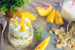 Greek yogurt with granola and peach Stock Images