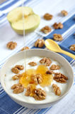 Greek yogurt with honey Stock Images