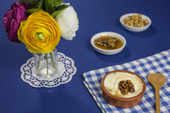 Greek yogurt with honey and walnuts Royalty Free Stock Photography