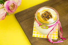 Greek yogurt with honey and walnuts stock photography