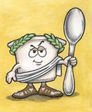 Greek Yogurt Man with Spoon. Greek Yogurt Cartoon Character holding Spoon Stock Images