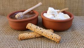 Greek yogurt natural dairy products in ceramic cup, honey and cookies Royalty Free Stock Images