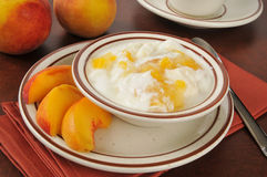 Greek yogurt with peaches Royalty Free Stock Photo