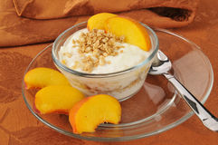 Greek yogurt with peaches Stock Photography