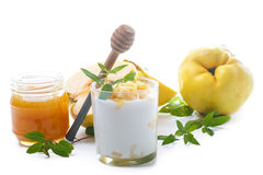 Greek yogurt with roasted quince and honey Royalty Free Stock Photo