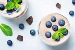 Greek yogurt vanilla chocolate panna cotta with mint leaves and fresh blueberries. Toning. Selective focus royalty free stock photography