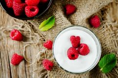 Greek yougurt with fresh raspberries and mint. Toning. selective focus royalty free stock image