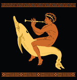 Greek3. Greek mythology flute player riding on a dolphin Stock Photography