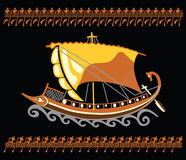 Greek4. Ancient Greek mythology Argo vessel with rowers ornament Royalty Free Stock Image