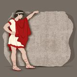 Greekboy. Young Greek standing at a piece of stone block going to carve something significant  illustration Royalty Free Stock Image