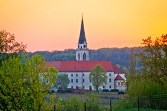 Greekcatholic cathedral in Krizevci sunset view royalty free stock image