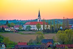 Greekcatholic cathedral in Krizevci sunset view royalty free stock photos