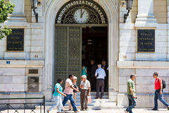 Greeks at the National Bank of Greece Royalty Free Stock Photos