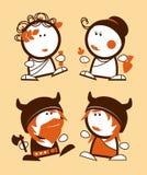 Greeks and Vikings funny people. Ancient Greeks and Vikings, historical funny people icons Stock Photography