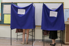 Greeks vote in bailout referendum Stock Photos
