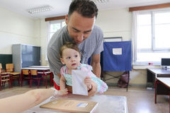 Greeks vote in bailout referendum Stock Photography