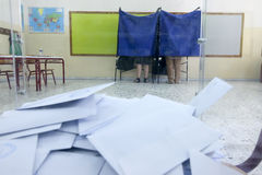 Greeks vote in bailout referendum Stock Images