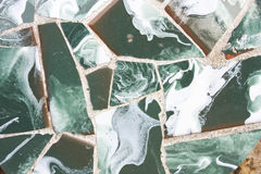 Greem trencadis. Broken pottery, Gaudi. Royalty Free Stock Photo