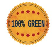 100%-GREEN文本,在葡萄酒黄色贴纸邮票 图库摄影