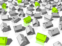 "Green ""ecological"" houses. Green ""ecological"" houses standing out from others Stock Photo"