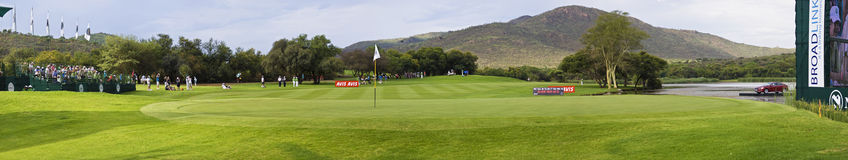 Green on the 17th hole - Gary Player Golf Course. Panoramic view of the 17th green, and fairway approach, of the Gary Player Golf Course Royalty Free Stock Photos