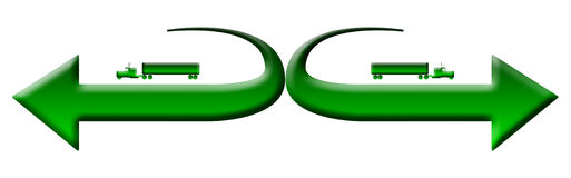 Green 18 wheeler trucks logo Stock Photo