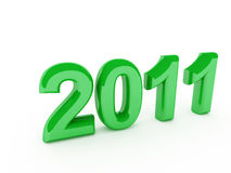 Green 2011 new year. On white background Royalty Free Stock Image