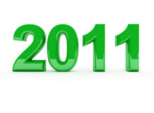 Green 2011 new year. New year 3d 2011 green date background Royalty Free Stock Image