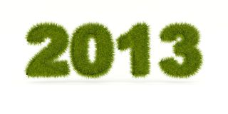 Green 2013 New Year sign. Isolated on white Stock Images