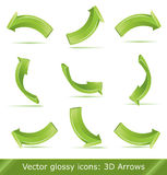 Green 3d  arrows set Stock Images